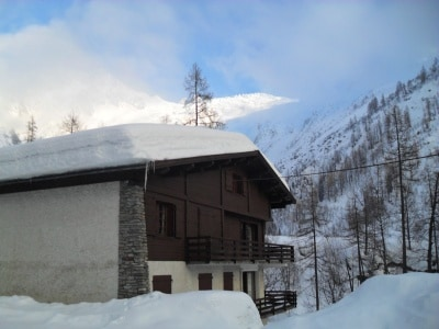 chalet from outside, winter