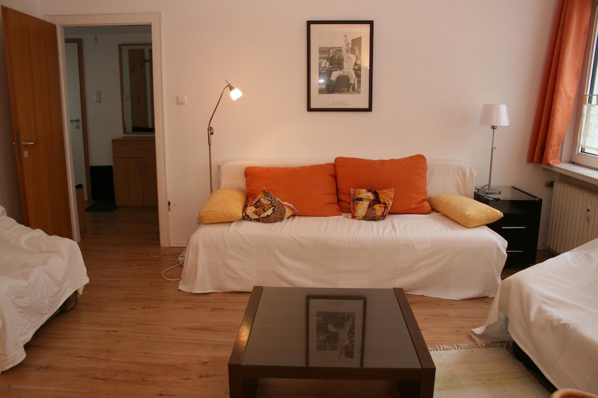 Wohnzimmer mit Bettcouch Liegefläche bis 2 m x 2 m und Bettkasten - daybed until 2 m x 2 m