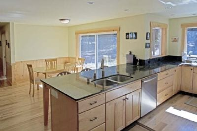 View of kitchen, dining room