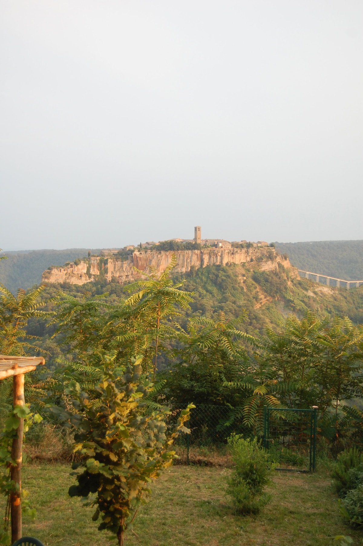 garden view of Civita di Bagnoregio