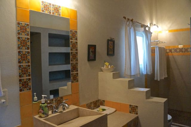 All of our bathrooms have been recently renovated with marble sinks, mexican tiles, rock floors and rain shower heads.
