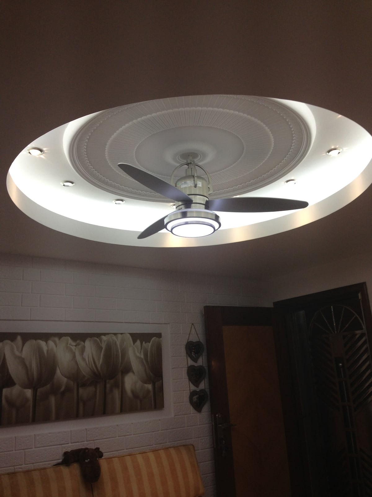 A ceiling with a twist..it is also a LED clock