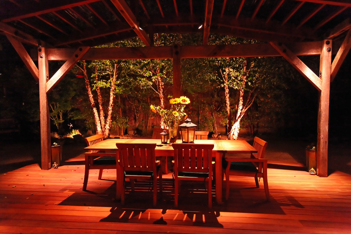 Back porch under evening light - a great place to entertain with friends and relax in peace