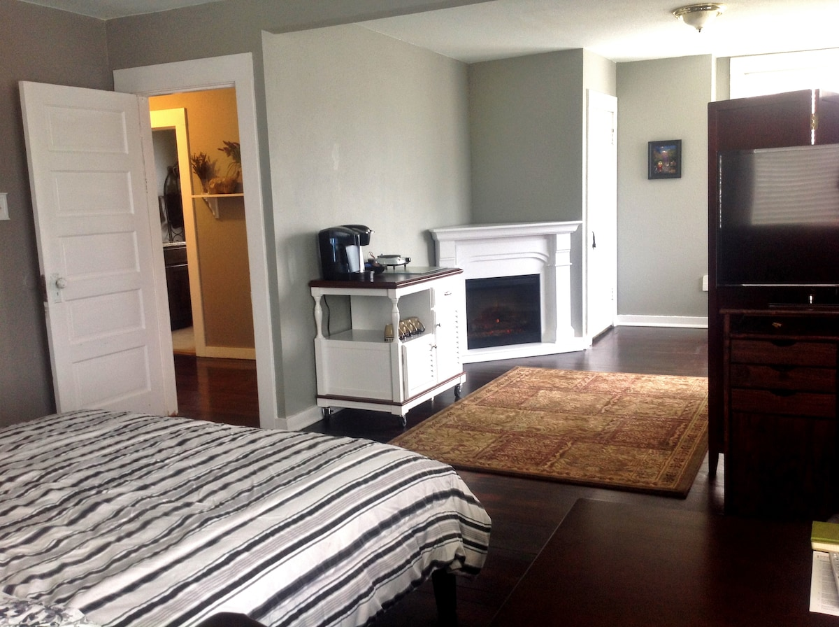 Electric Fireplace Heater and Kitchen Station.  The room measures 25 feet across!
