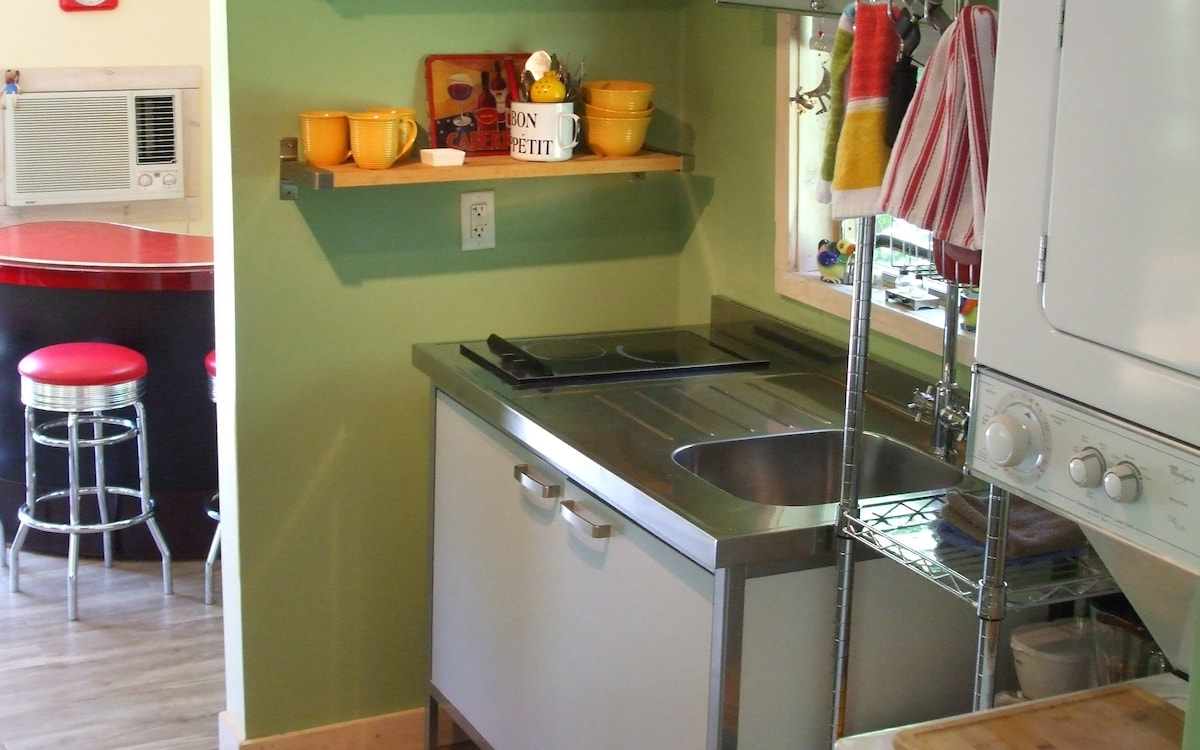 Ikea Kitchen with fridge, two burner stove, sink and microwave oven.