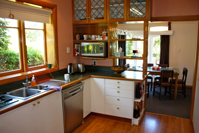 We love our farmhouse-style kitchen. Dining room adjoins, and bbq area beyond...