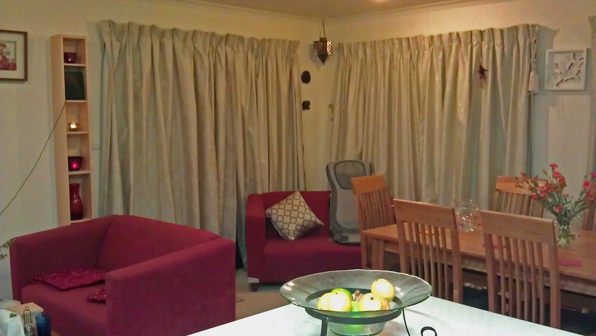 The main living room - the grey item at the back is a massage chair, which guests are welcome to use