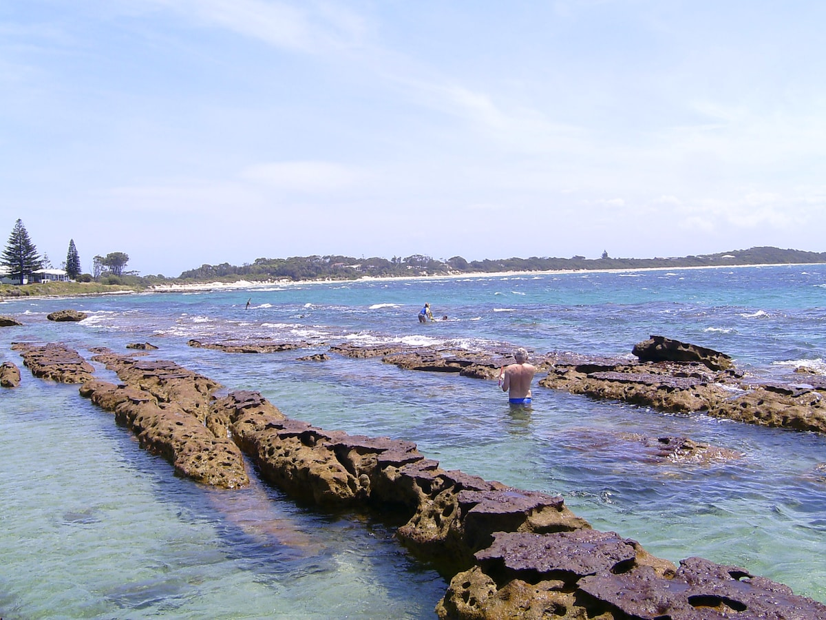 Natural rock pool. Great for swimming and snorkelling. you might even see dolphins passing by