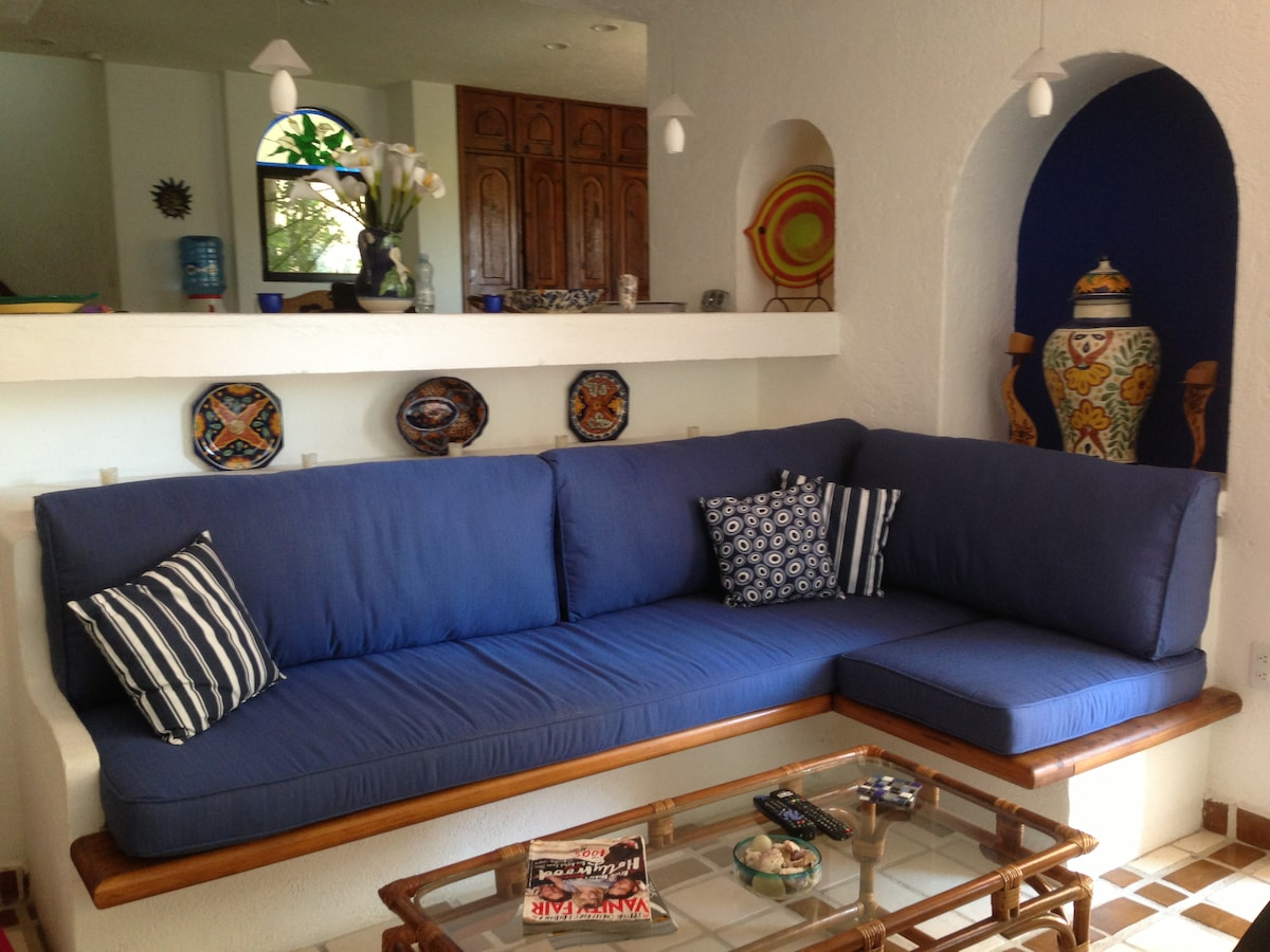 New sofa cushions, dining room & kitchen overlooks living room