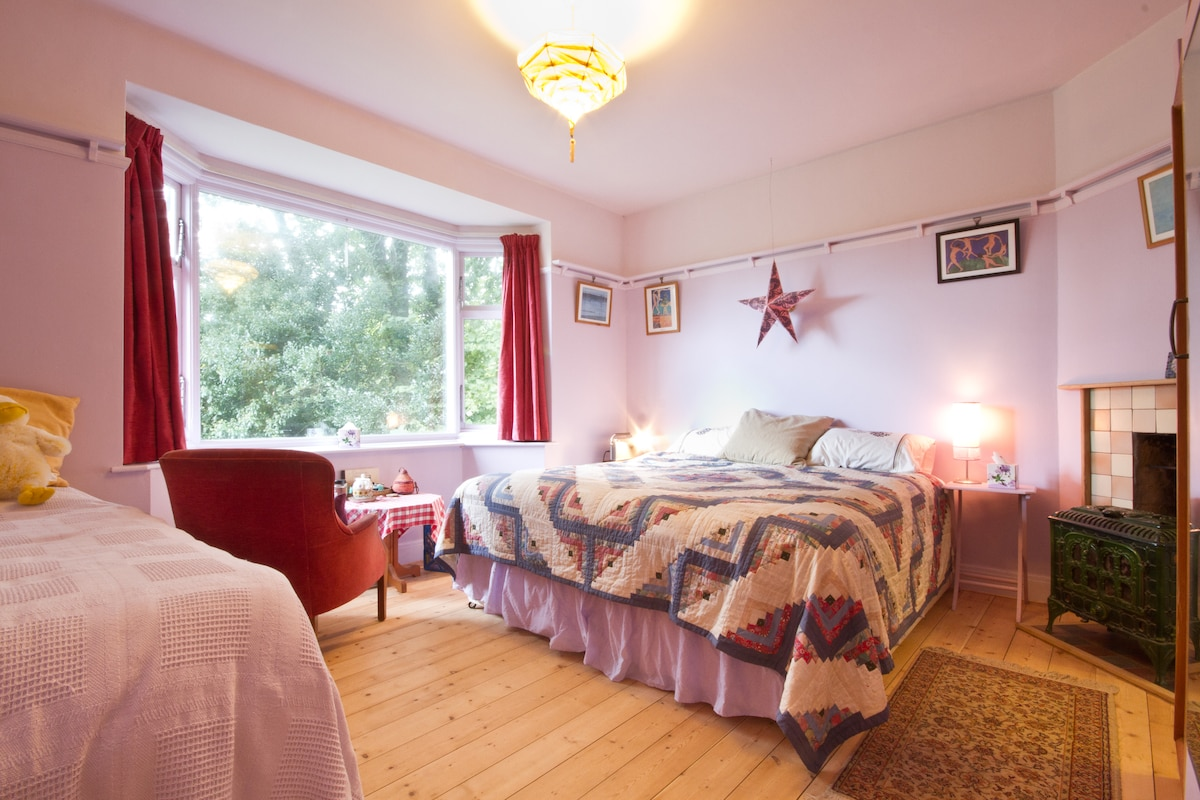 En-suite bedroom showing wood-stove & view of the woods.