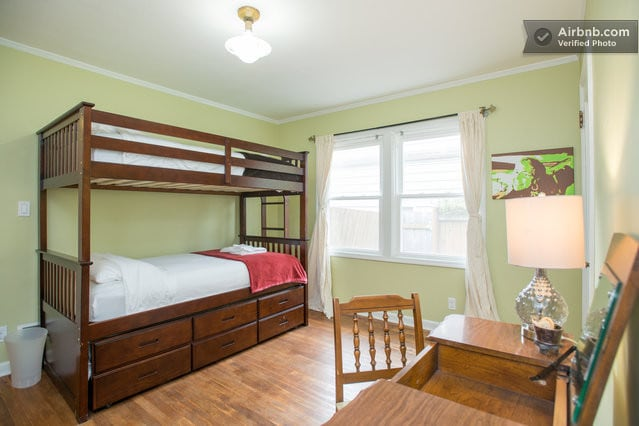 Back bedroom with bunk beds!  A trundle bed can be rolled out for a third person!