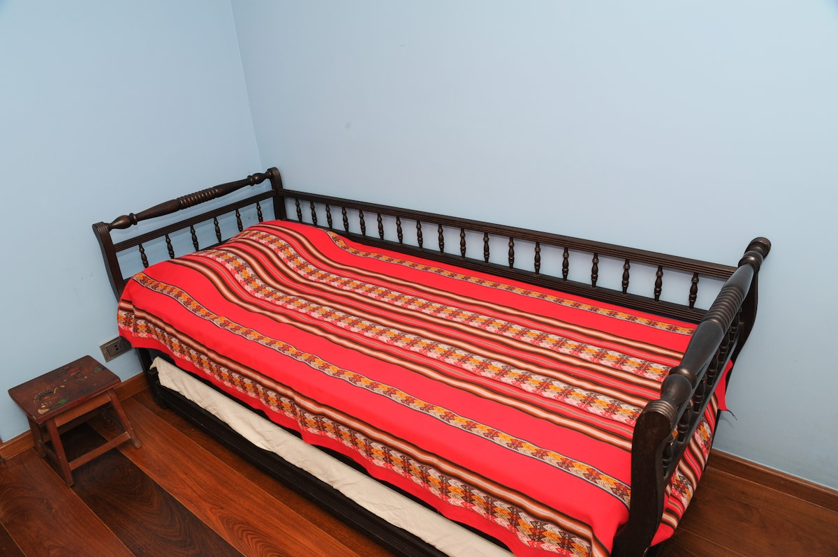 This is your bed. Underneath there is a second retractable bed that can be used in special cases.