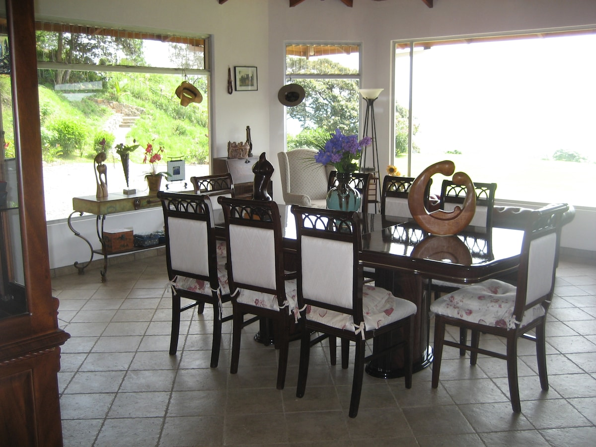 Dining area with views of the valley
