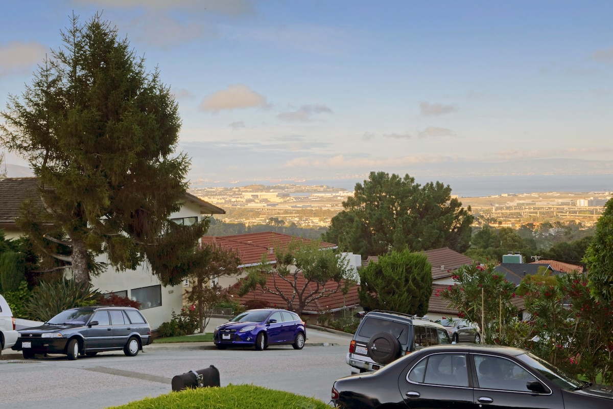 Views from our house towards San Francisco Airport.  (We are near SFO airport)