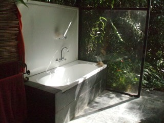 Indoor bath and shower. Plus a hot outdoor shower