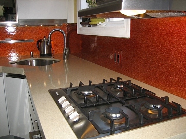 New appliances. Miele cooktop and Kraus faucet. Seamless stainless sink.