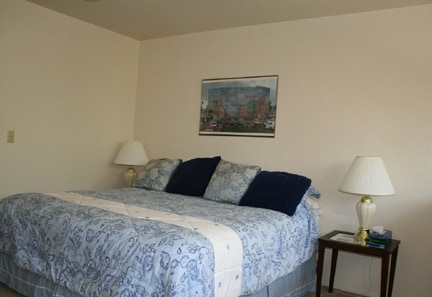 King bed in upstairs loft, walk-on closet and bathroom are also upstairs.