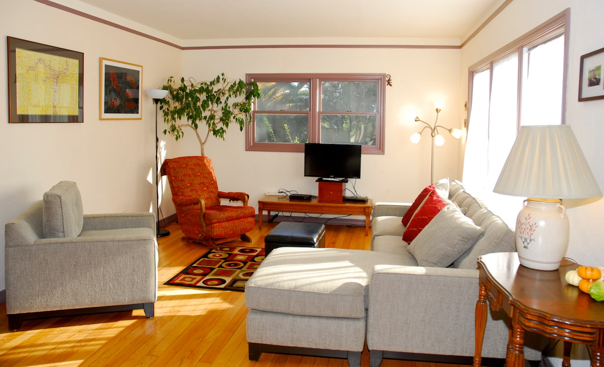 Spacious, sunny living room with pullout sectional.