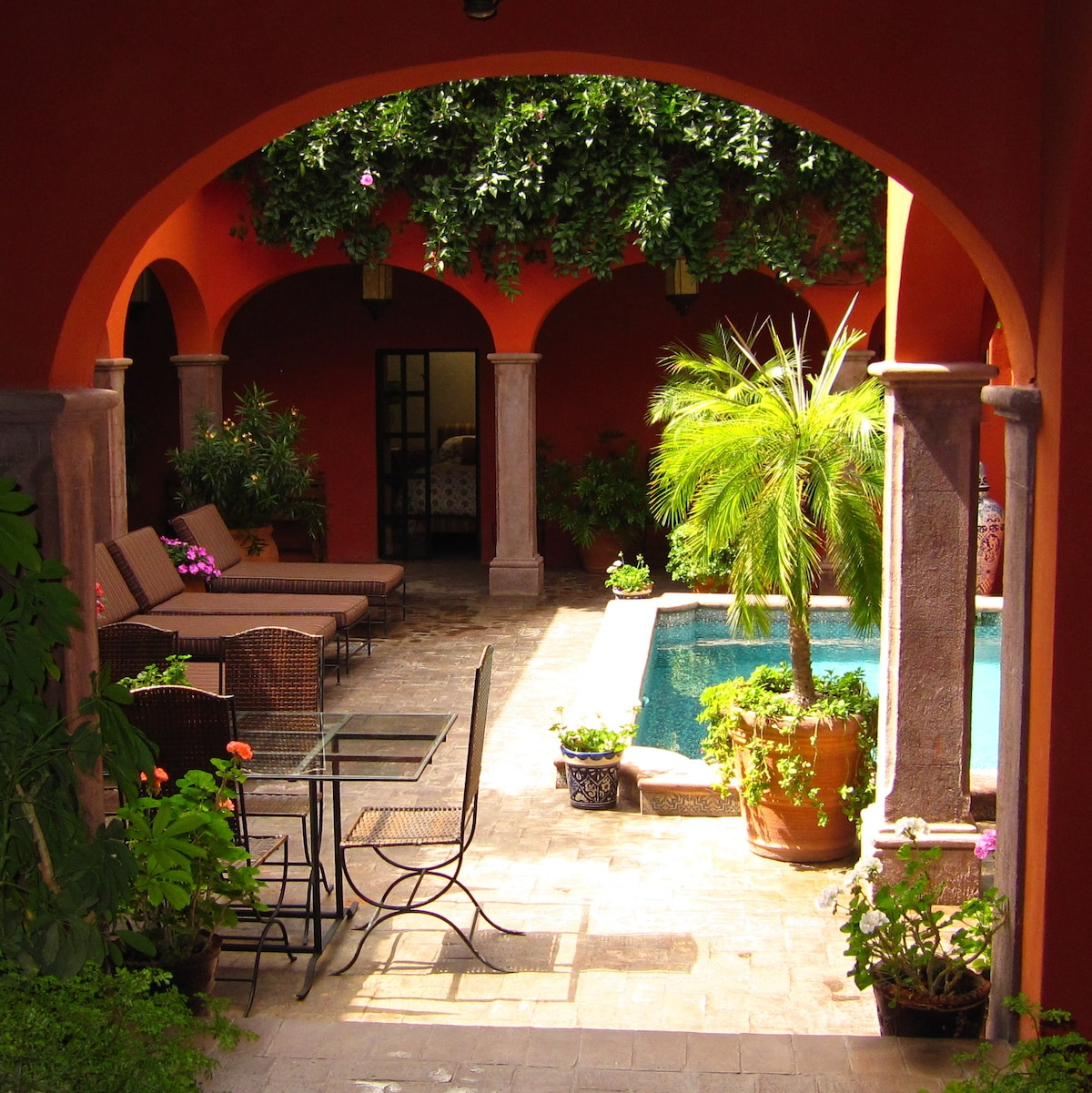 View of the Pool Patio from the Outdoor Living Area