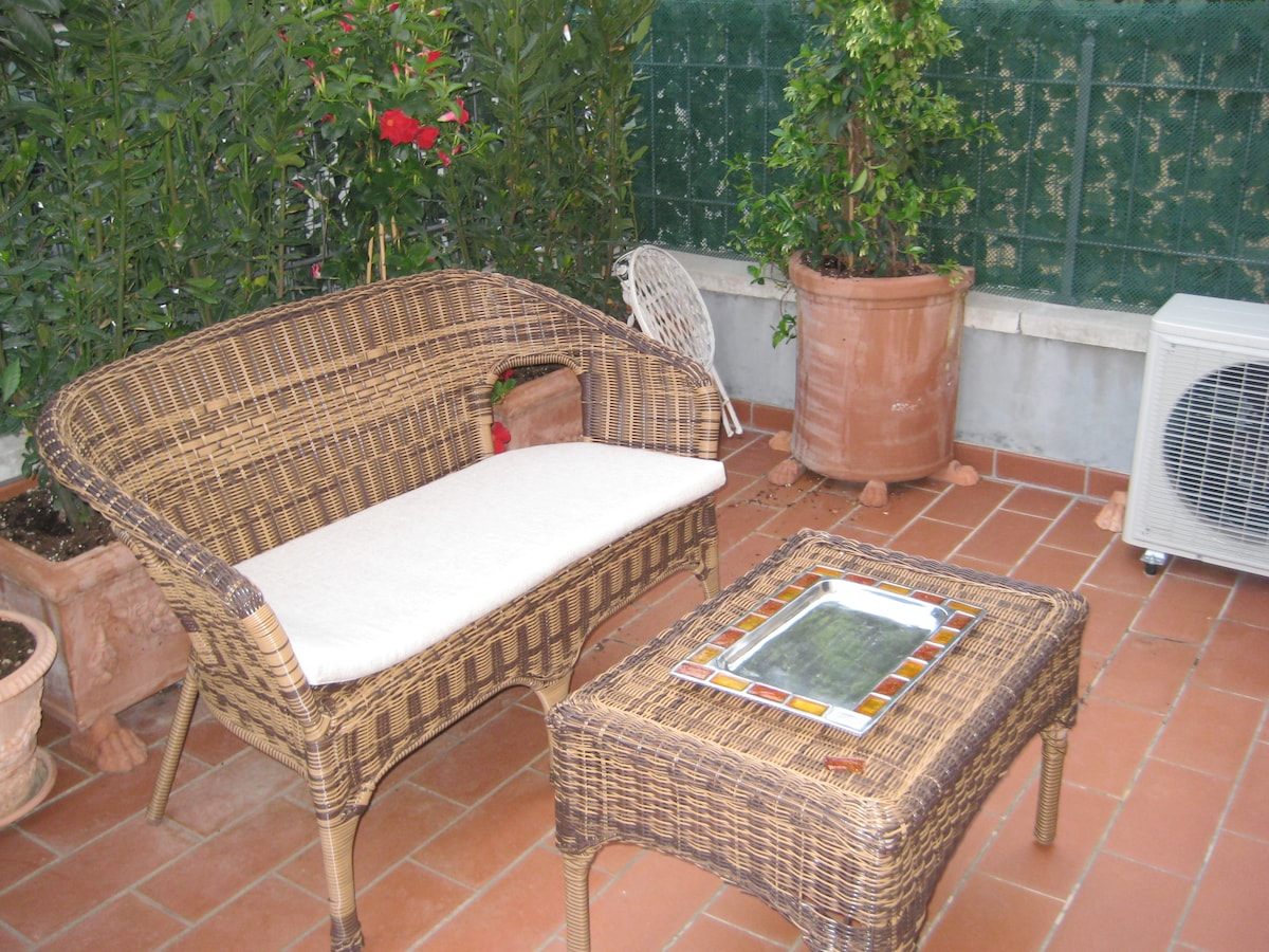 Large terrace with patio furniture. Gets a lot of sun in afternoon.