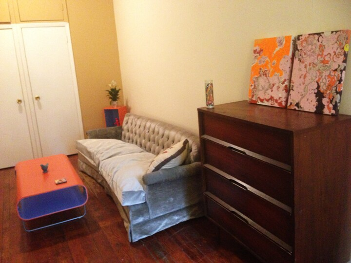 Plenty of space for your cloths, dresser, 2 closets, storage above, cubby holes inside the closets, and a hanging shoe rack.