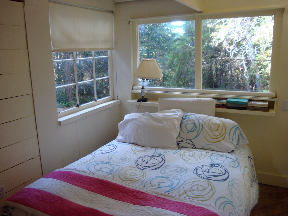 Bedroom Queen bed surrounded by windows with views into forest on 3 sides. Great afternoon sun