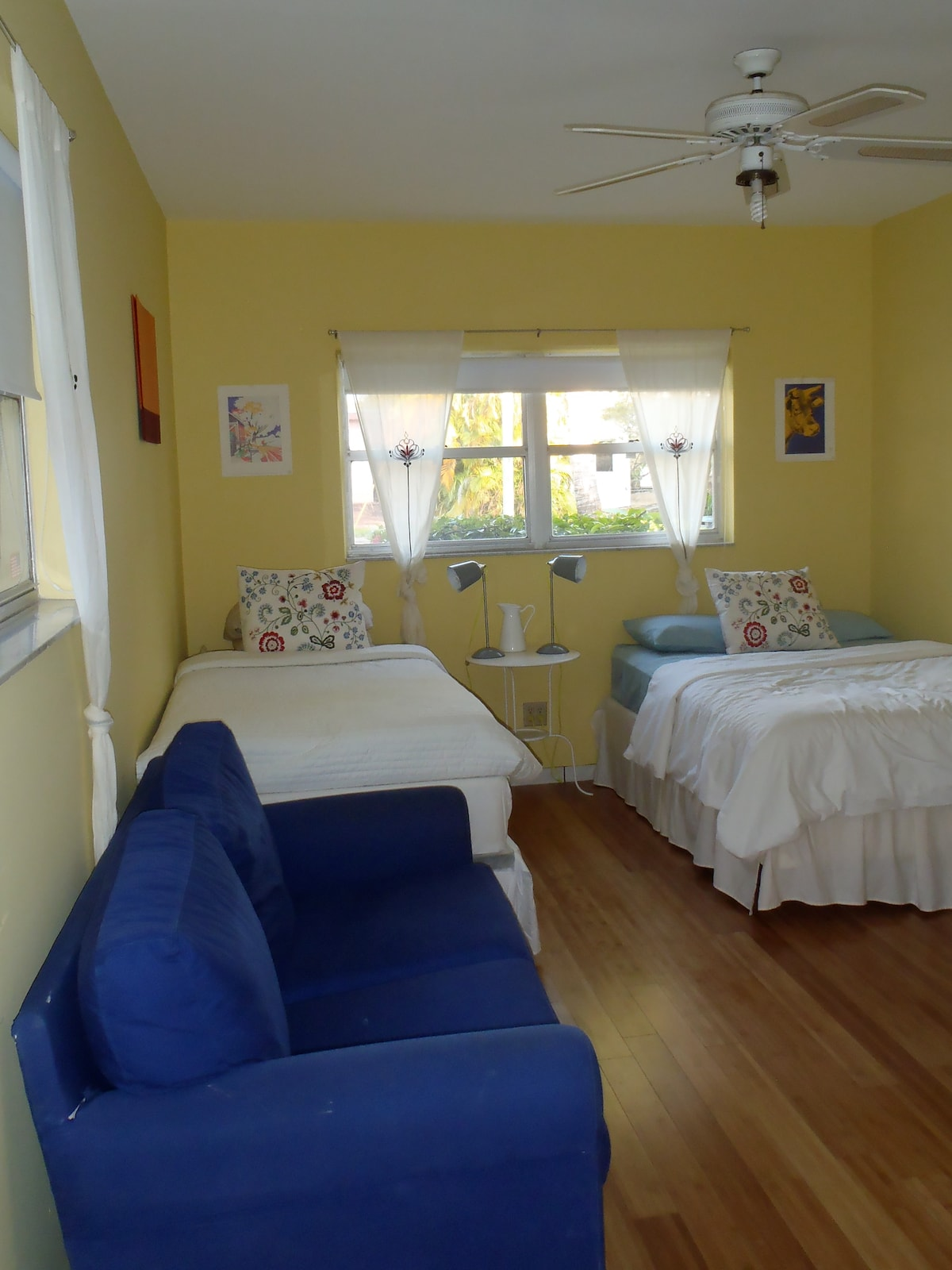 Room 3 has 1 single bed, 1 full bed and 1 sofa bed