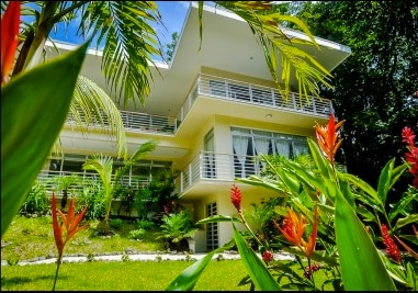 Modern Tropical, Contemporary Architecture with Lush Landscaping and Grounds.
