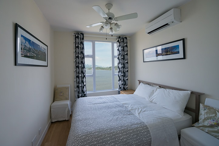 Full sea view from main bedroom. Split type air conditioning units with heating and dehumidifying functions.