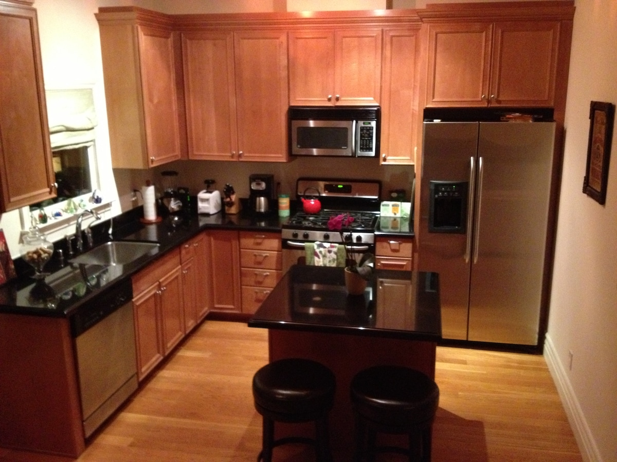 view of kitchen with counter stools