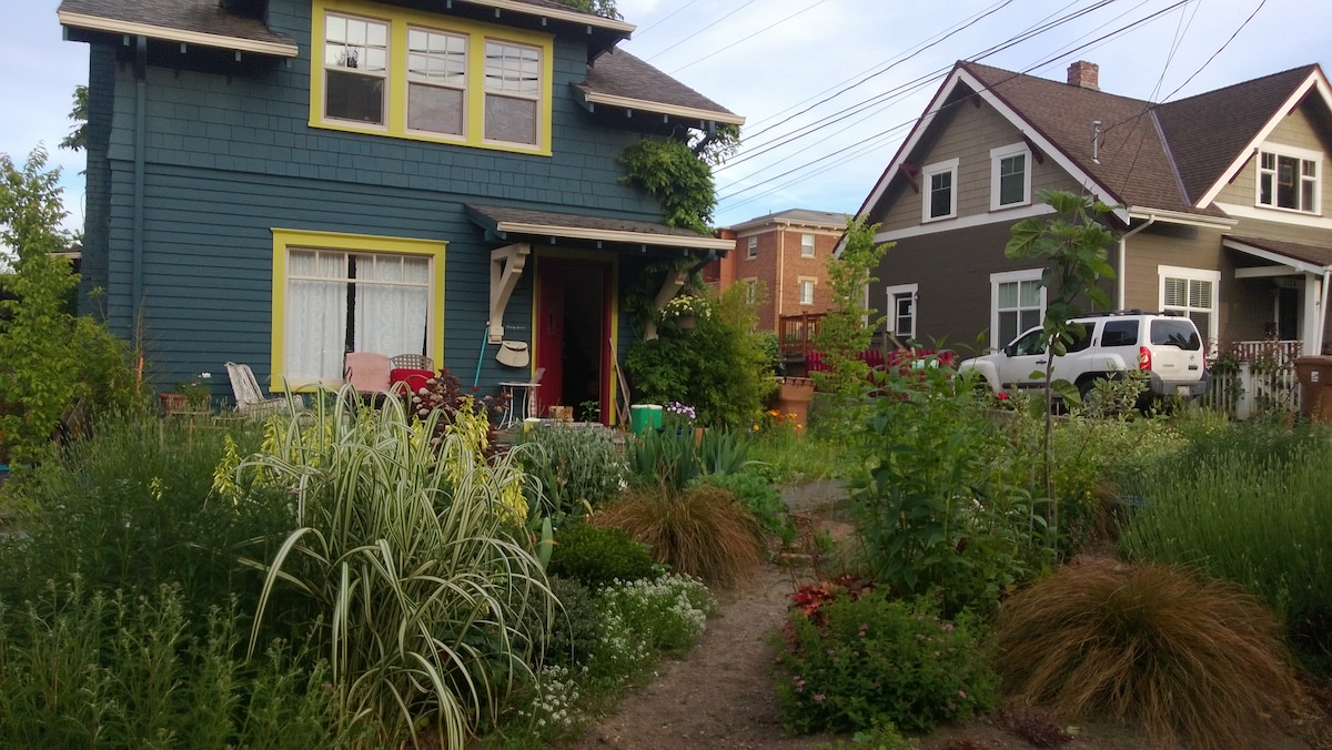 A colorful house with a lovely garden in Tacoma's Historic District.