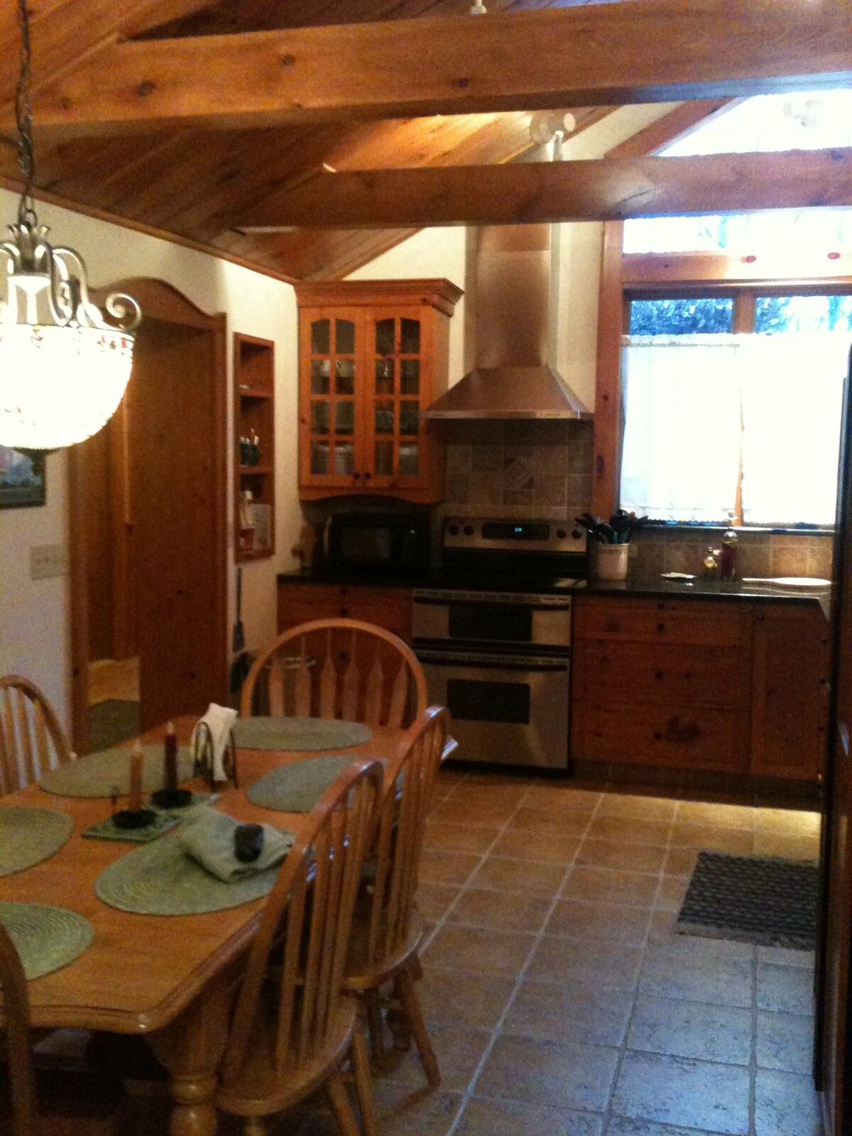 The kitchen opens into the dining room.