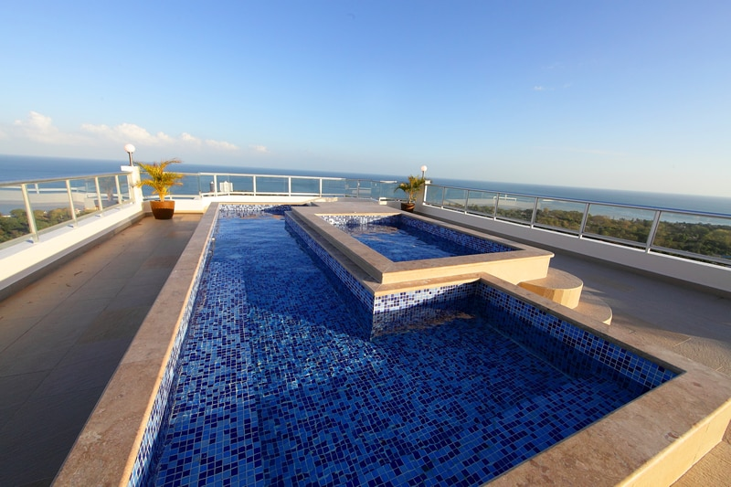 One of the many common area pools. This is highest rooftop