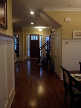 From Great Room, Dining Room to right, Sitting Room to left, to Front Door