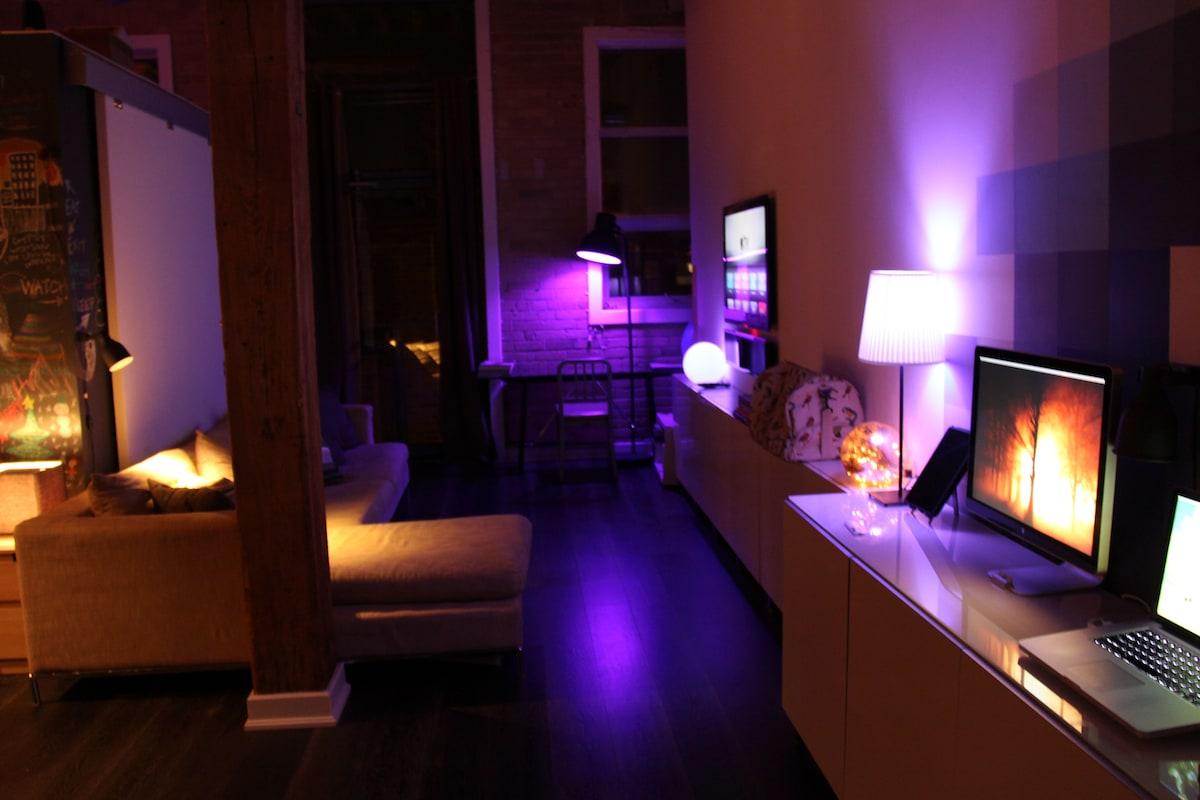 Living Area at Night. Chill Purple Lighting Theme