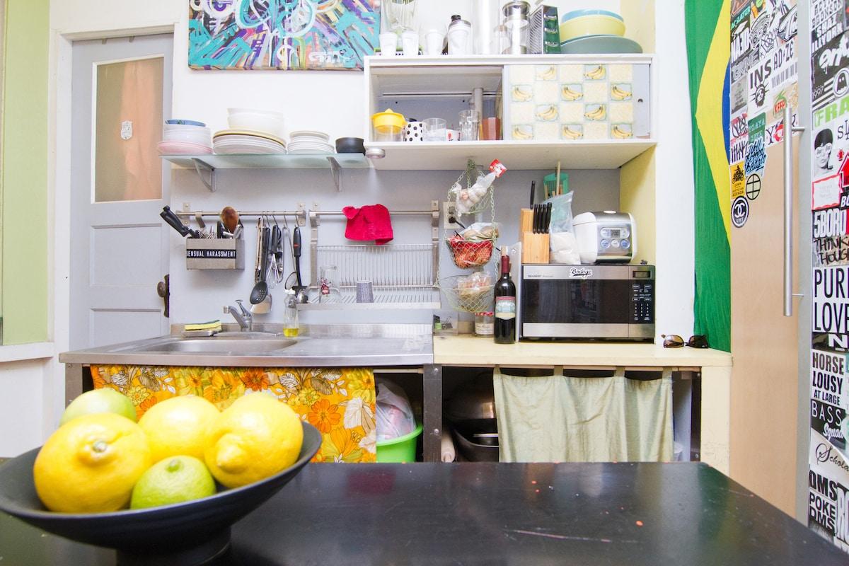 kitchen prep area.