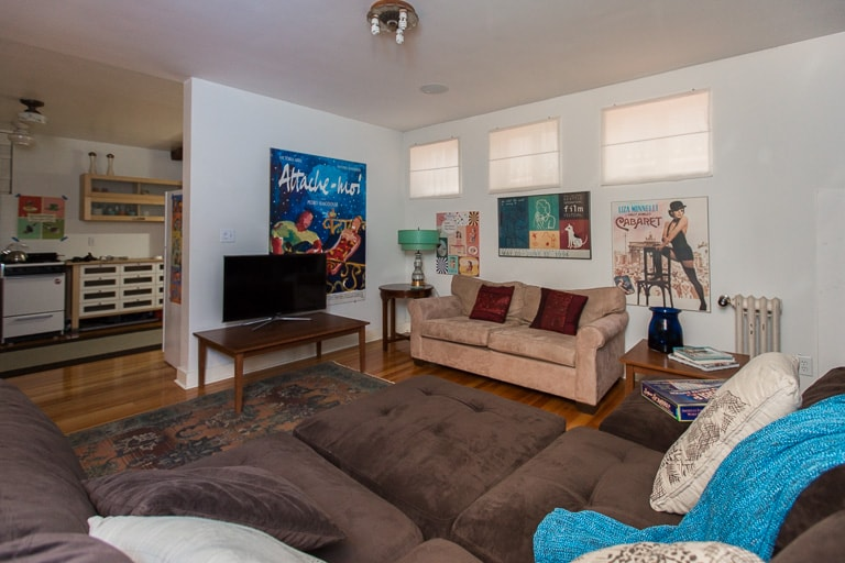 """Big living room with 40"""" television, HBO, Showtime, etc."""