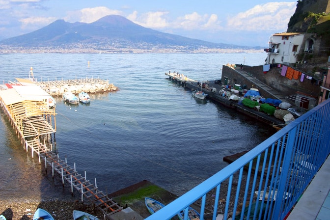 Splendid sea view from the balcony of Marina Grande Holiday Apartment in Sorrento