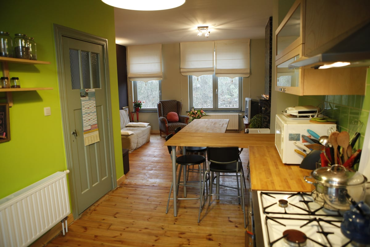 open space, kitchen and living-room
