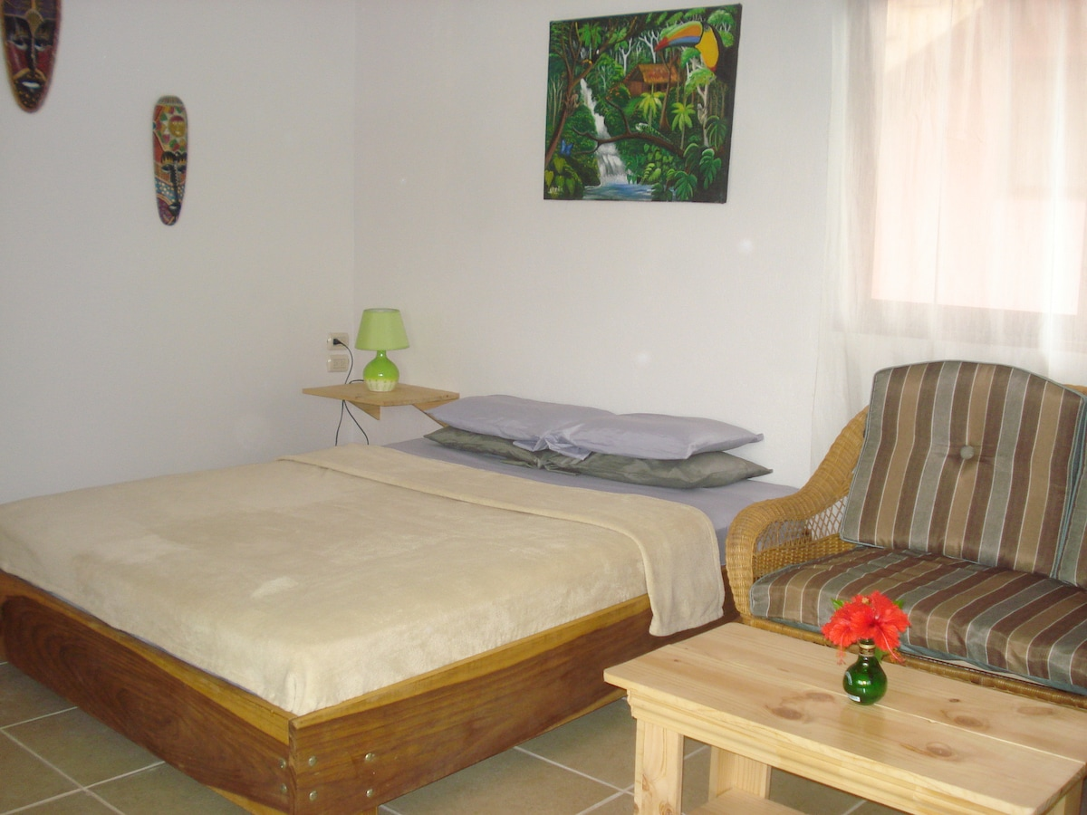 Queen bed in bungalow