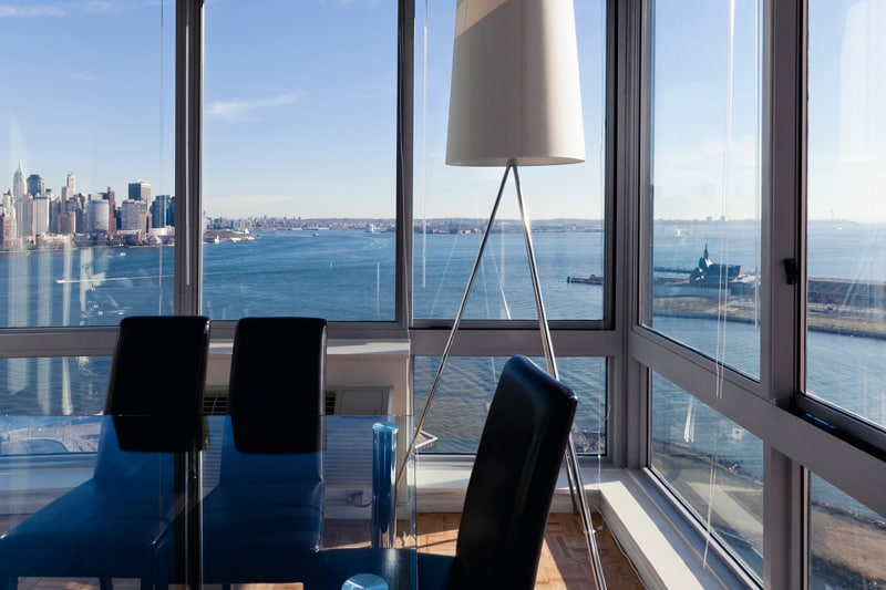 View of New York City from the Floor-to-Ceiling Windows in the Dining Area/Living Room