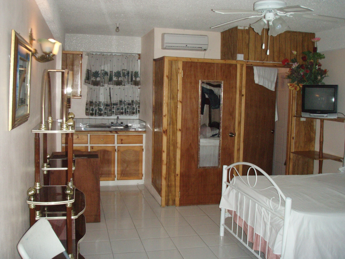 self-contained suite with 4 beds, kitchenette, ac