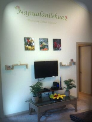Living room.  Napualanilehua features artwork Native to the area.