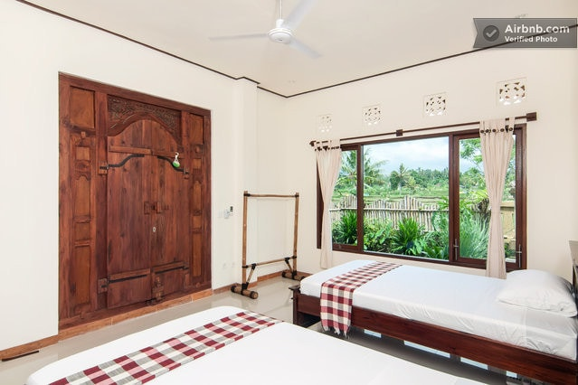 Twin room in rice field home