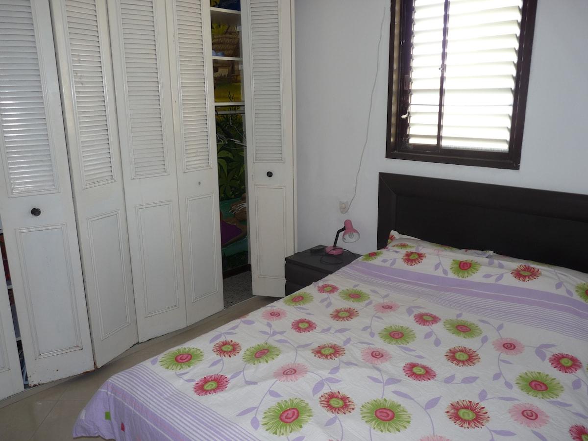 chambre principale avec lit double, grande armoire et salle de bain/WC