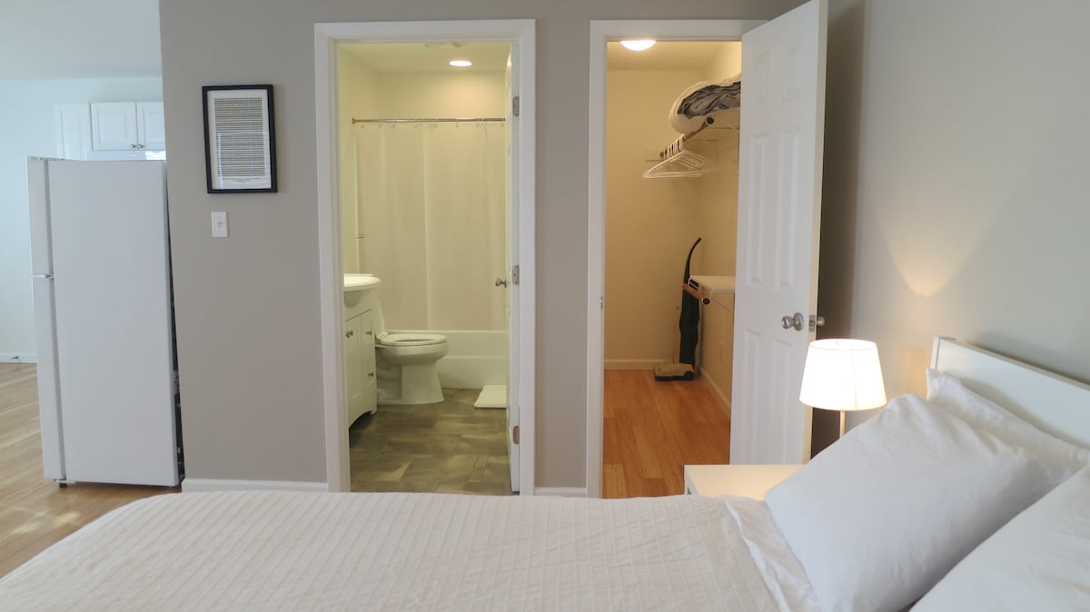 Full bathroom with all new fixtures and components.  Spacious walk-in closet that can easily store several luggages.