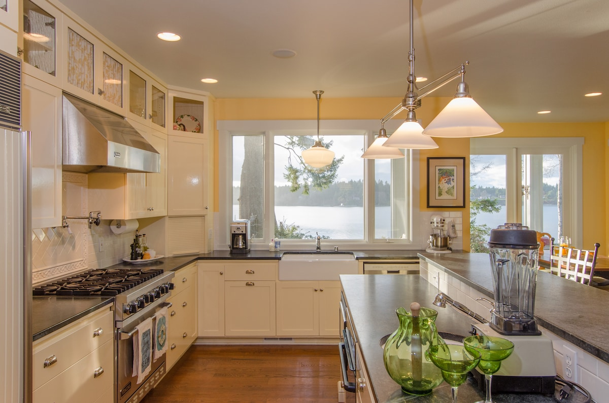 Fully equipped kitchen with farmhouse sink, bar sink, Cuisinart, VitaMix Blender, KitchenAid mixer, etc.