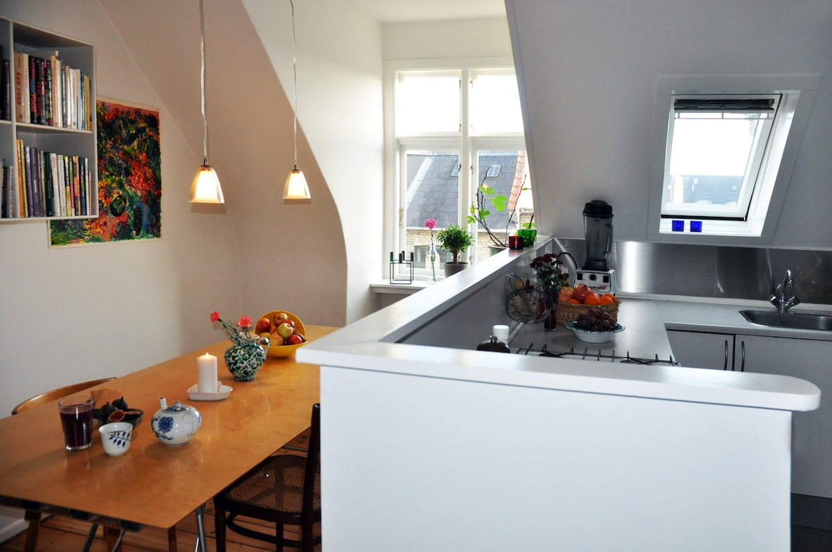 kitchen and sitting area