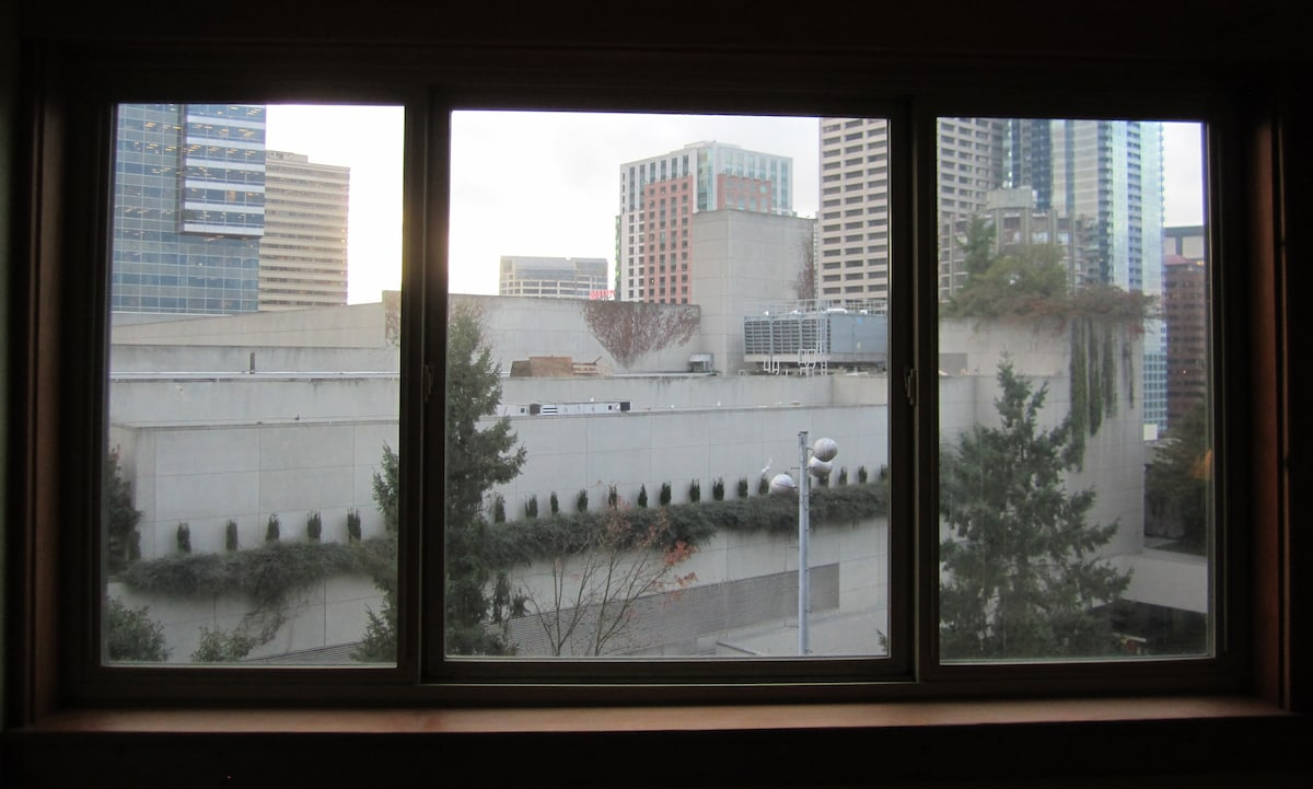 The view out the living room window of the Convention Center and city is wonderful.