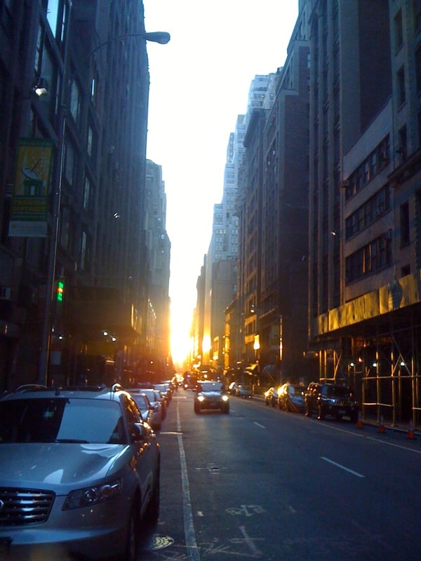 Sunset on our street in the summer.